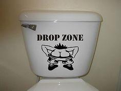 Toilet Drop Zone Decal Bathroom Wall Seat Tank Art Decor Vinyl Sticker | eBay