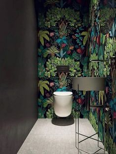 40 Cozy Small Powder Room Design Ideas - Home renovation 2019 , Cloakroom Toilet Downstairs Loo, Small Wc Ideas Downstairs Loo, Wallpaper Toilet, Understairs Toilet, Small Toilet Room, Powder Room Design, Tile Panels, Decor Interior Design, Modern Interior