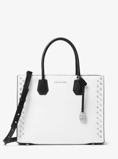 MICHAEL KORS Mercer Large Studded Leather Tote. #michaelkors #bags #canvas #tote #leather #lining #polyester #shoulder bags #hand bags #