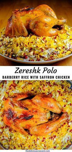 Persian Chicken And Rice Recipe, Iranian Chicken Recipe, Roast Chicken And Rice, Barberry Recipe, Afghan Food Recipes, Saffron Recipes, Granny's Recipe, Rice Side Dishes, Zereshk Polo