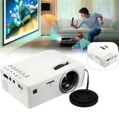 UC18 Full HD 1080P LCD LED Home Theater Cinema Mini Portable Projector with USB TV VGA SD AV Support White