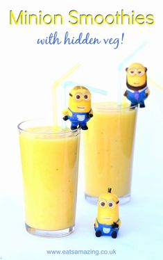 Fun minion themed fruit smoothie recipe with a secret hidden vegetable from Eats Amazing UK - healthy fun food for kids