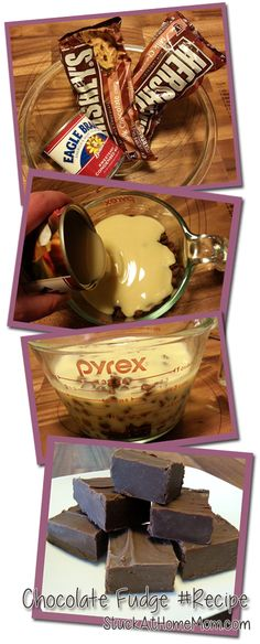 1 can Eagle brand condensed milk ( 14 oz ) 1 1/2 bags of chocolate chips ( 11.5 oz )  how to: place both things in bowl.microwave for 3min. stir until smooth every 30sec. pour into 8x8 cooking dish place in fridge for a few hours.