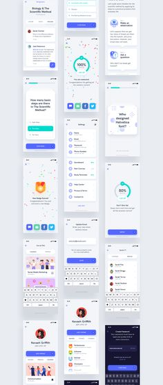 Estudio Mobile App UI Kit is an educational app focused on improving the experience of learning courses online. This UI Kit contains 58 UI screens. Compatible with both Sketch app and Adobe Photoshop. Web Design, App Ui Design, Mobile App Design, Flat Design, Ui Kit, Design Thinking, Learning Courses, Learning Tools, Ui Design