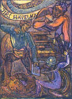 Josef Váchal (1884- †1969) Czech writer, painter, printmaker and book-printer. Ex Libris Jiří Havelka