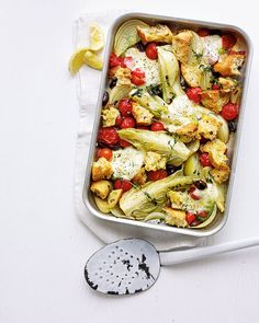 Enjoy the flavours of Italy in this quick and easy vegetarian traybake recipe. On the table and ready to eat in under an hour – this will quickly be