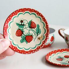 Vintage Wolverine Strawberry Tin Tea Set  1950's by vintageatchirp