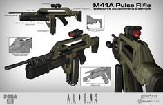Various Weapon designs concepted for Aliens: Colonial Marines. Sci Fi Armor, Sci Fi Weapons, Concept Weapons, Fantasy Weapons, Aliens Colonial Marines, Armadura Cosplay, Concept Art Tutorial, Future Weapons, Alien Concept
