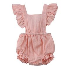 19a379c6448153 Cute pink romper Flutter details Tie back Snap clips on crotch for easy  changing Elastic back   legs for comfort