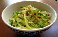 Asian Cucumber Salad - simple summer salad to eat with rolled deli turkey or to top grilled or roasted salmon. Perfect.
