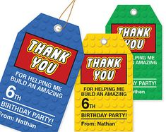Building Block Thank You Tags - 3 Colors / Printable / Gift Tag / Personalized - Boy birthday parties - Lego Lego Themed Party, Lego Birthday Party, 6th Birthday Parties, Boy Birthday, Lego Parties, Birthday Ideas, Ninjago Party, Lego Ninjago, Ninjago Games