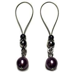 Nipple Jewelry Noose Czech Pearl Silky Purple #nipplerings #nipples #nipplenoose #bodivas