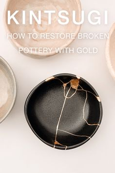 """Kintsugi literally means """"fixing with gold"""" and it is an ancient technique born in Japan centuries ago. Kintsugi is not a decorative technique, but it is a delicate and long process. It requires years of practice to find the perfect balance in the materials proportion, to understand the drying time and to make a resistant and clean product. Find more about this antique restoration process. Antique Restoration, Kintsugi, Japanese Pottery, Im Not Perfect, Delicate, Antiques, Gold, Beauty, Japanese Ceramics"""