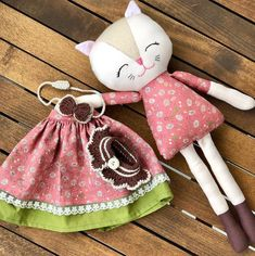 Dress up cat rag doll baby first soft toy toddlers toy cat cloth doll baby girl gift kitty fabric doll handmade dress up rag doll Cat Fabric, Fabric Toys, Fabric Crafts, Baby Hut, Cat Doll, Creation Couture, Sewing Toys, Soft Dolls, Baby Girl Gifts