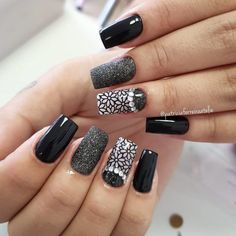 New Nails Square Color Manicures Ideas French Nail Designs, Black Nail Designs, Nail Art Designs, Gorgeous Nails, Pretty Nails, Nail Manicure, Gel Nails, Nails 2018, Stamping Nail Art