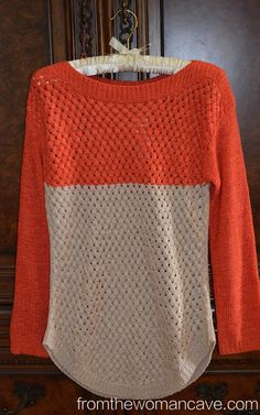I said no orange, but a jewel tone,burnt orange works. like this sweater because of the fall coloring, pattern in the knit and length.