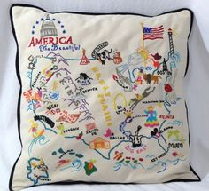 CATSTUDIO USA America the Beautiful Hand Embroidered Pillow 19x19 RARE 2001 in Home & Garden, Home Décor, Pillows | eBay