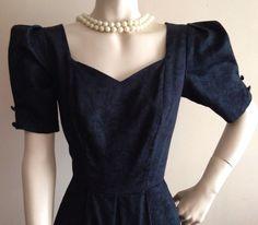 LAURA ASHLEY VINTAGE BLACK FLORAL DAMASK BOW SWEETHEART DRESS 50s 60s ROCKABILLY