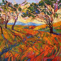 Paso Mosaic - Erin Hanson Prints - Buy Contemporary Impressionism Fine Art Prints Artist Direct from The Erin Hanson Gallery Erin Hanson, Abstract Landscape, Landscape Paintings, Oil Paintings, Modern Impressionism, California Art, Mosaic Art, Painting Inspiration, Les Oeuvres
