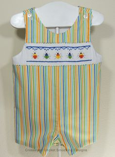 "Cross Eyed Cricket Smocking Designs This plate is called""My Little Stink Bug""  so cute for a little boy."