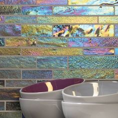 Create a rainbow effect in your own home with this beautiful mosiac tile from Original Style - Morning Dew Brickbond Mosaic 305 x Modern Kitchen Tiles, Kitchen Mosaic, Mosaic Bathroom, Splashback Tiles, Tile Manufacturers, Morning Dew, Style Tile, Glass Mosaic Tiles, Bathroom Inspiration
