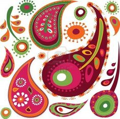 Exotic colorful paisley pattern