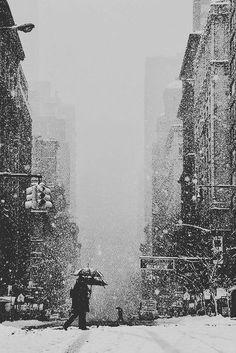 Snow in New York.