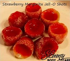 Strawberry margarita Jell-O Shots!!!! Took me about 30 min for prep and then in fridge for about 3 hours Makes: 16 1-ounce shots