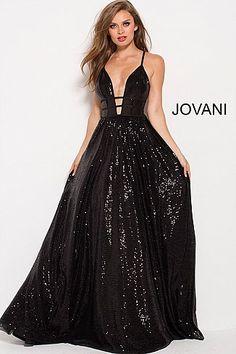051ab92641 Black Sequins Plunging Neckline Backless Prom Ballgown 51805   LongFormalDress  Jovani  FormalGown Prom Dresses