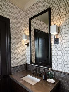 Beautiful lighting in the bathroom... makes it all stylish!