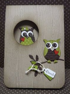 Owl punch from Stampin' Up. My Sandbox: A couple of quickies.to enable myself! Tarjetas Stampin Up, Owl Punch Cards, Owl Card, Owl Crafts, Stamping Up Cards, Bird Cards, Animal Cards, Card Making Inspiration, Valentine Day Cards