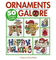 Presents 50 cross stitch designs for Christmas ornaments. This title contains snowmen, gingerbread folk, bears, a dog, a cat, Baby's first Christmas, Santas, a tree, angels, Nativity figures, stockings, a star, reindeer, snowflakes, a hat, a mitten, a wreath, a gingerbread house, a rocking horse and holiday greetings.