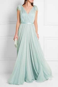 Alexander McQueen - Mint silk-chiffon Concealed hook and zip fastening at back 100% silk Dry clean Designer color: Egg Blue  Made in Italy