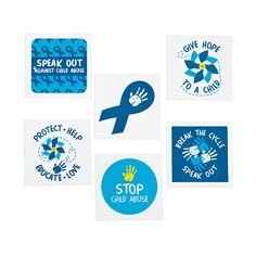 April is National Child Abuse Awareness Month, show your support with these temporary tattoos that represent children affected by abuse or neglect- OrientalTrading.com OrientalTrading.com