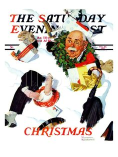 """White Christmas"" Saturday Evening Post Cover, December Giclee Print by Norman Rockwell Norman Rockwell Prints, Norman Rockwell Paintings, Christmas Art, Vintage Christmas, White Christmas, Xmas, Christmas Images, Christmas Landscape, Christmas Cover"