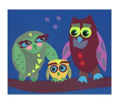 Hey, I found this really awesome Etsy listing at https://www.etsy.com/listing/173278293/owl-family-wall-art-baby-owl-nursery