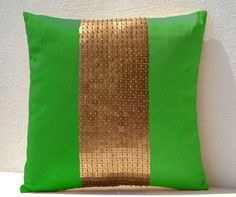 Throw Pillows  Neon green gold color block in silk by AmoreBeaute