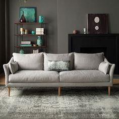"Antwerp Sofa #westelm 89""w x 35.5""d x 32""h. / Covered in textured weave upholstery in Platinum.[only color] / Overall product dimensions: 89""w x 35.5""d x 32""h. Interior seat width: 80.5"". Seat depth: 23"". Seat height: 18.5"". Back height: 28.5"". Diagonal depth (including legs): 38""."