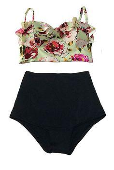 39c6a145acc40 Women Swimsuit High Waist Bathing Suit Plus Size Swimwear Push Up Bikini Set  Vintage Retro Beach Wear XXL