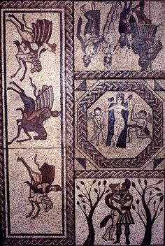 Part of a mosaic pavement in a 4th century Roman villa at Low Ham, Somerset. Discovered in the 1940's by a farmer who was digging a hole to hole to bury a dead sheep. The mosaic depicts scenes from the Romance of Dido & Aeneas in Virgil's Aeneid. It is one of the 1st examples where a complete story was told in a series of chronological scenes.