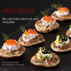 Blini mixed platter creme fraiche red and black caviar Mini Appetizers, Food Platters, Creme Fraiche, Appetisers, Caviar, Food Styling, Seafood, Food Photography, Champagne