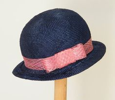 blue summer hat / elegant straw hat / navy eventl hat / summer