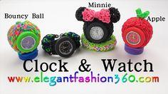 Rainbow Loom Clock/Watch 3D Minnie/Mickey /Bouncy Ball/Apple - How to Loomm bands tutorial by Elegant Fashion 360.