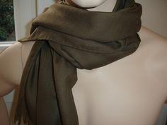 Webschals - Wollschal 180x45cm khaki Merinowolle - ein Designerstück von textilkreativhof bei DaWanda