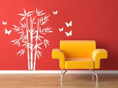 Bamboo with Butterflies  Wall Decal Vinyl Wall by studiowallart, $46.00