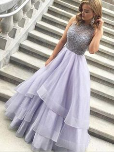 Prom Dresses For Teens, Beading Tiers Ball Gown Organza Prom Dresses Lavender Prom Dress, Beaded Prom Dress, Senior Prom Dress, Prom Dress for Teens Short prom dresses and high-low prom dresses are a flirty and fun prom dress option. Prom Dresses 2017, Dance Dresses, Ball Dresses, Ball Gowns, Evening Dresses, Prom Gowns, Dresses Dresses, Long Dresses, Formal Gowns