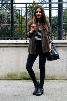 striped top, khaki shirt, jeans an booties