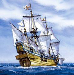 El Golden Hind (cierva dorada) fue un galeón inglés más conocido por su circunnavegación del globo terráqueo entre 1577 y 1580, capitaneada por el corsario Sir Francis Drake. Golden Hind, Old Sailing Ships, Ship Of The Line, Ship Drawing, Ship Paintings, Nautical Art, Ship Art, Tall Ships, Model Ships