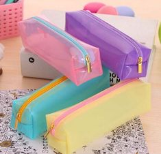 Candy color transparent Pencil Cases Fashion stationery Pencil Bag Student school Supplies Cosmetic Bag
