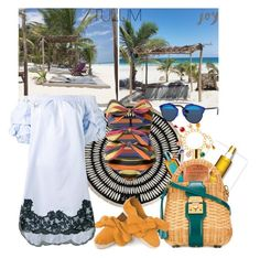 """""""TAKE ME TO TULUM"""" by statuslusso ❤ liked on Polyvore featuring Dolce&Gabbana, Christian Dior, Nuxe, Mark Cross, Ermanno Scervino, Lisa Marie Fernandez, beach, offshoulderdress and Tulum"""